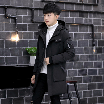Winter long section of the men's cotton padded jacket Korean handsome thick jacket cotton jacket high school students cotton trend