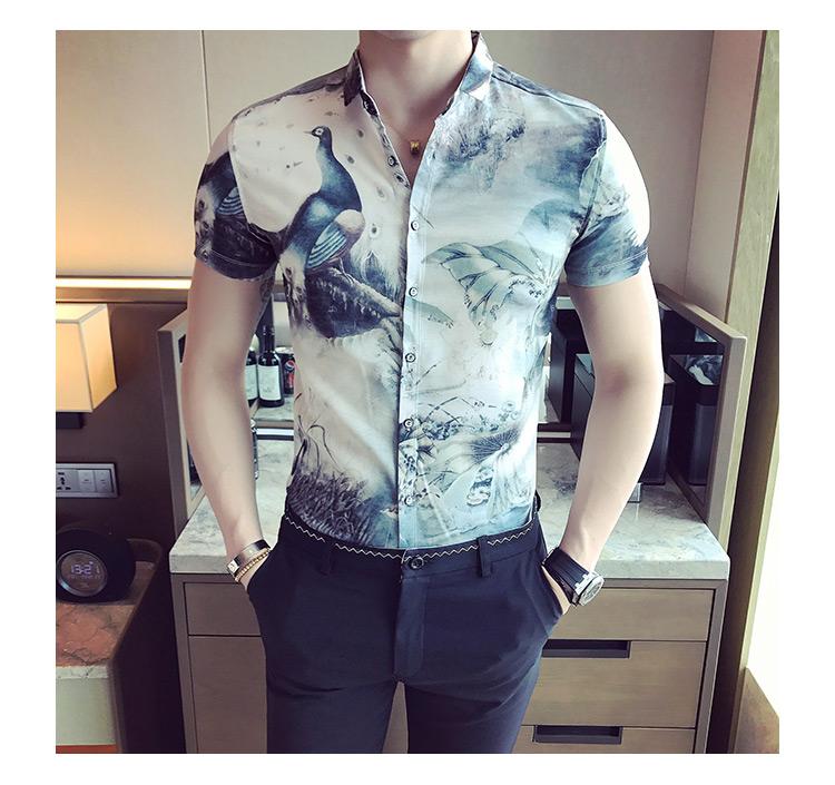 2019夏季男士英伦青年修身小伙时尚潮流短袖花衬衫223-2-208-P50