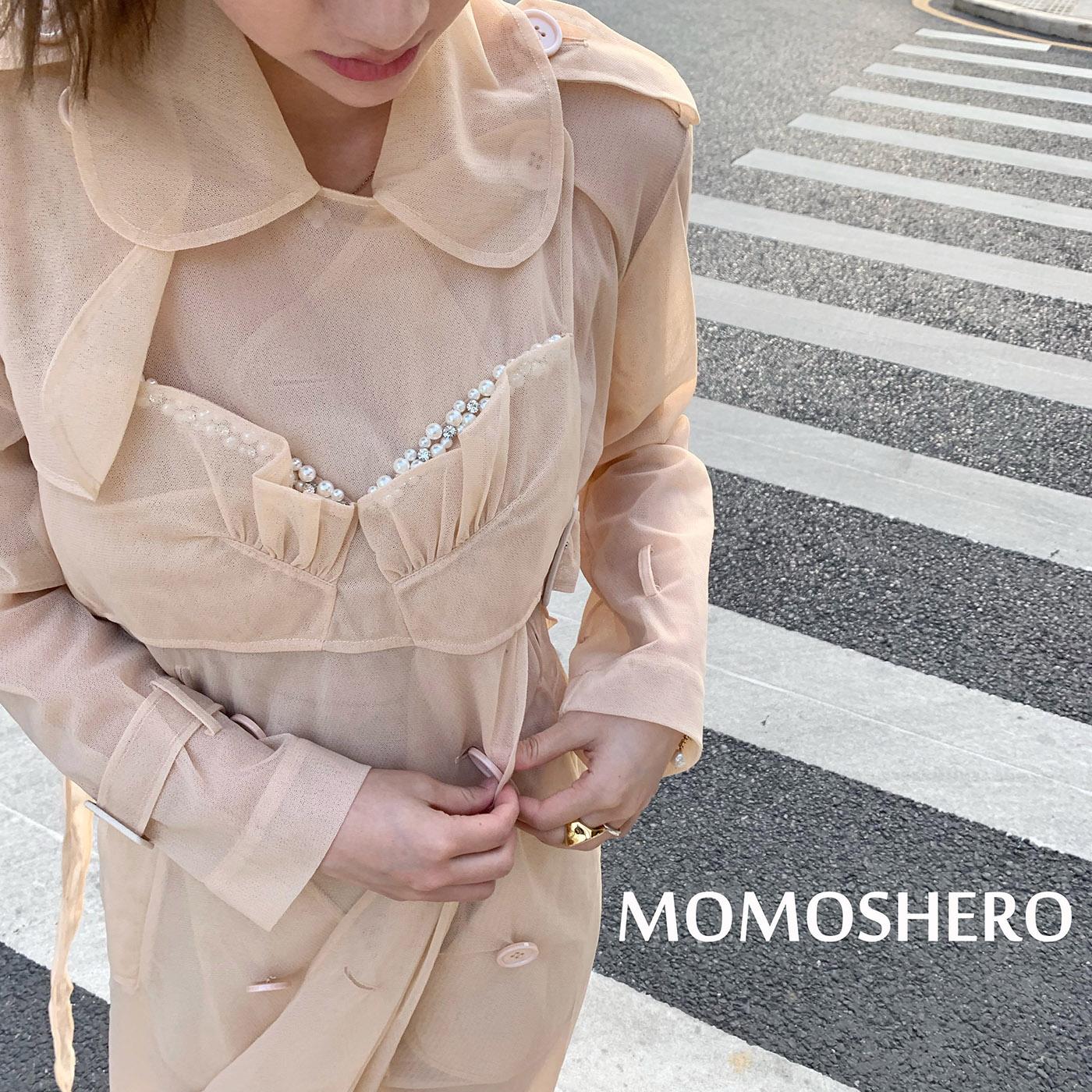 准长袖momoshero现货女2020春季新款气质外套身长修薄纱款风衣