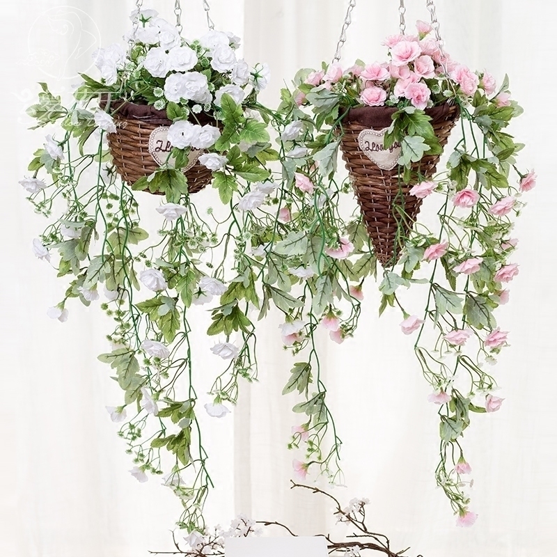 balcony flower baskets USD 1040 Simulation Wall Hanging Flowers Roses Rattan