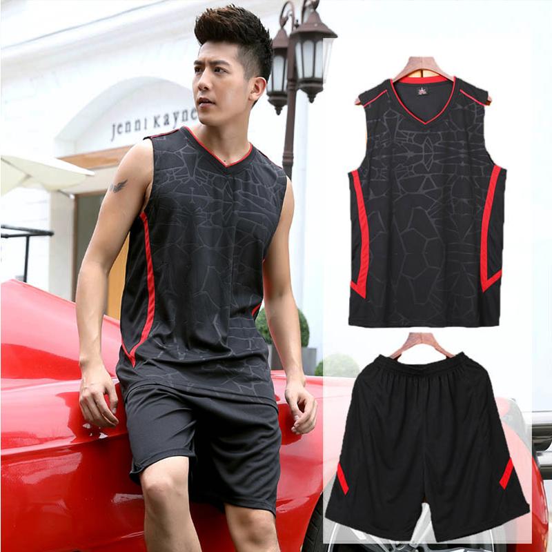 休闲跑步服套装青年男士无袖运动套装夏季宽松大码背心篮球服透气
