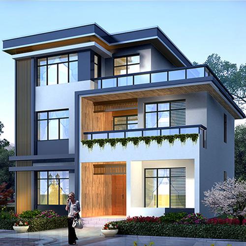 F3001現代中式別墅設計圖紙 自建房三