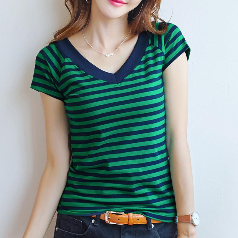 【喜一路】纯棉条纹T恤女