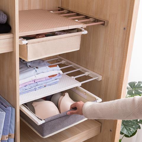 衣柜内收纳分层架隔板衣橱柜子隔层免钉伸缩宿舍置物架隔断分隔板