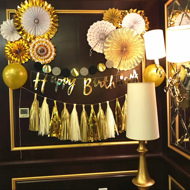 Birthday Decoration Adult Children Baby Balloon Party Supplies Pull Flag Gold Ktv Romantic 1 Year Old Package