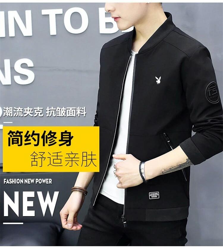Playboy nam áo khoác mùa xuân và mùa thu 2018 mới đẹp trai Hàn Quốc phiên bản của xu hướng áo khoác nam bóng chày cổ áo quần áo mỏng