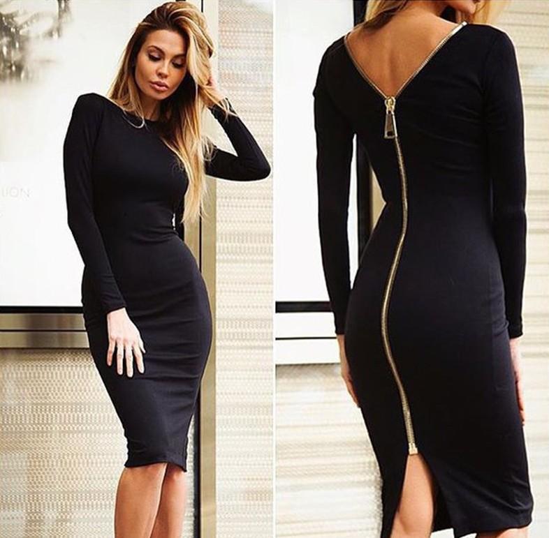 速卖通ebay拉链礼服v拉链连衣裙开襟女装修身欧美性感