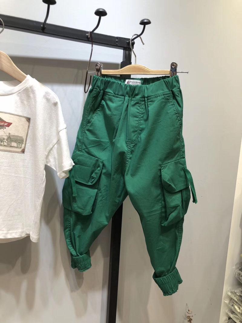 口袋2019春夏装新款中大裤脚童男大长裤女童收口工装裤儿童童装