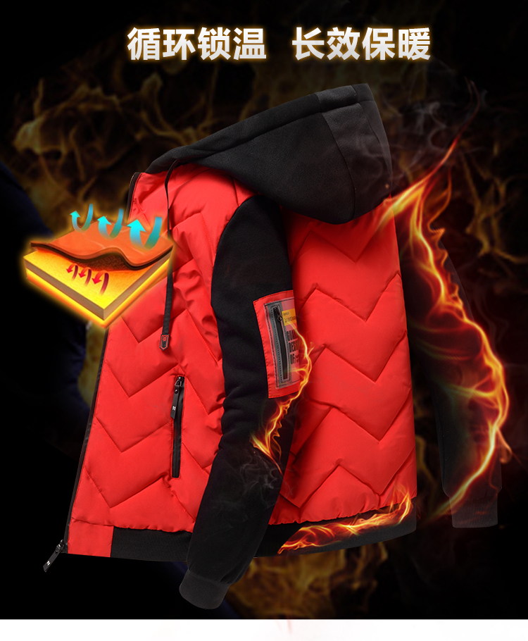 2020 new winter down jacket men's hooded thick winter coat men's jacket knitted sleeves down cotton clothing trend men 30 Online shopping Bangladesh