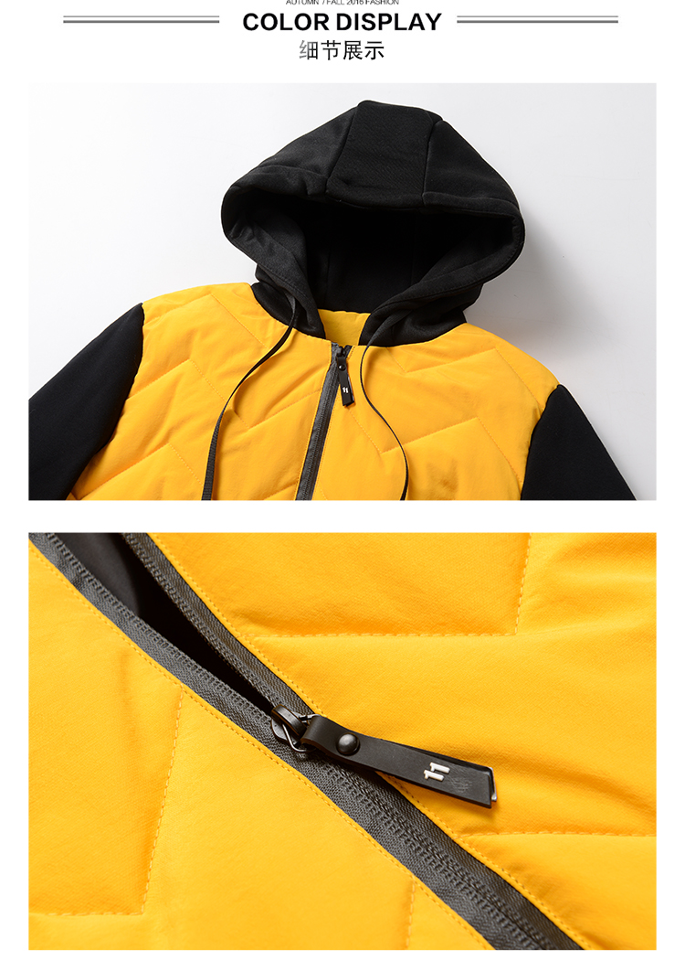 2020 new winter down jacket men's hooded thick winter coat men's jacket knitted sleeves down cotton clothing trend men 38 Online shopping Bangladesh