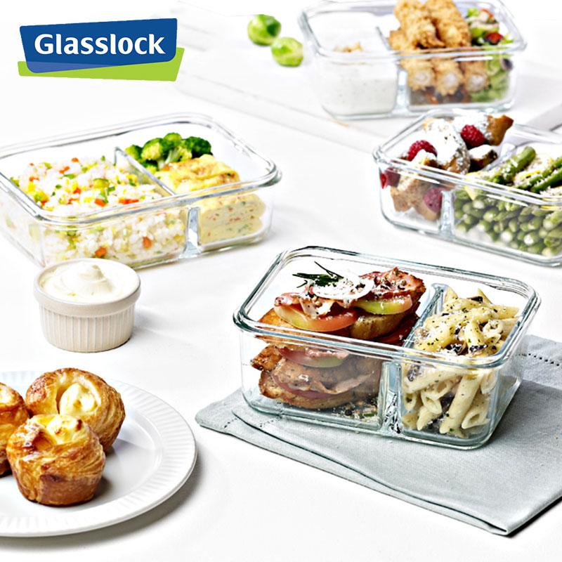 1000mlGlasslock韩国进口玻璃密封保鲜盒微波炉便当长方形饭盒