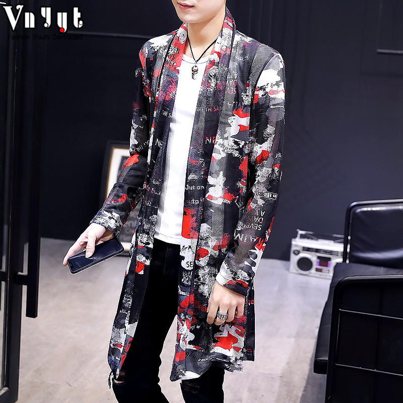 2019 summer new long section of the trend of personality sun protection windbreaker male light section handsome cloak personality clothes