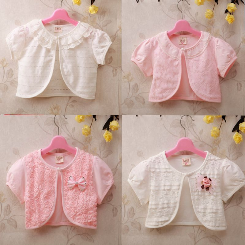 。 Children's wear girls short-sleeved small shawl baby cape summer thin cotton outside the cardigan air-conditioning shirt