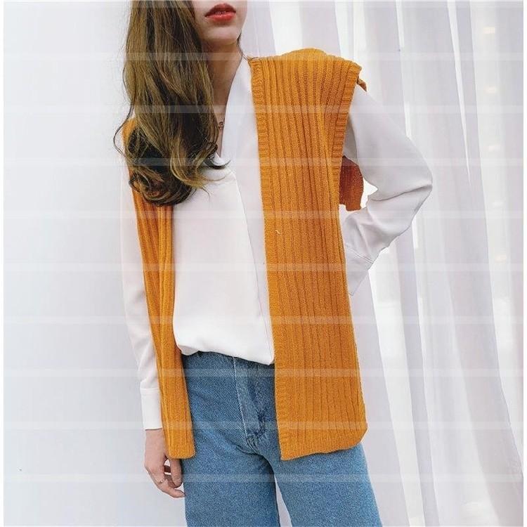 Phiên bản Hàn Quốc của áo ghi lê nhỏ với một chiếc khăn choàng nhỏ dệt kim dài tay thắt nút phụ nữ khăn quàng cổ len giả cổ áo mùa xuân và mùa thu - Khăn quàng cổ / khăn quàng cổ