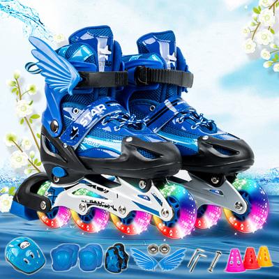溜冰鞋儿童全套装旱冰鞋可调直排滑冰鞋小孩轮滑鞋男女初学者闪光