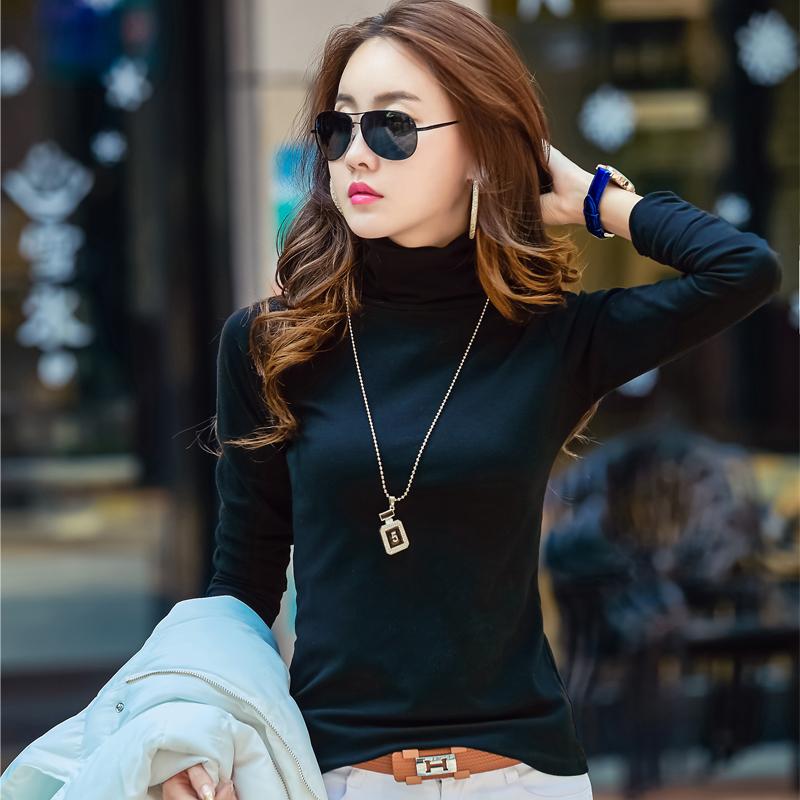 加绒高领打底衫女秋冬长袖t恤韩版紧身显瘦上衣百搭加厚保暖衫春
