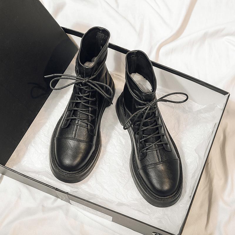 黑色马丁靴年新款秋季百搭短靴网红英伦风潮短筒秋款女鞋详细照片