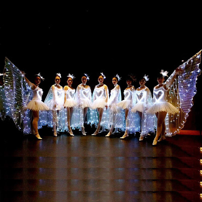 Fluorescent ballet dresses, adult women's performing costumes, LED Cape, luminous gold wings, butterfly dance opening dance costume.