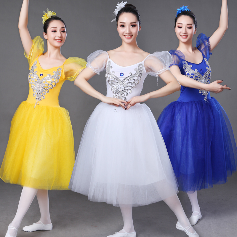 Ballet dresses, adult women's performance costumes, dance skirts, yarn skirts, gowns, gowns, skirt, bubble sleeves, costumes, performance suits, suits.