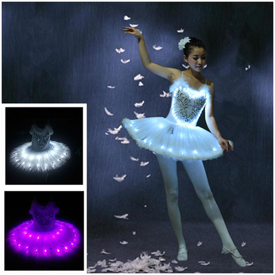 Luminescent dance costumes, fluorescent ballet dresses, adult performances, LED wedding performance costumes, starry children's pant skirts.