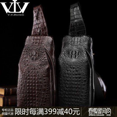 (Star with the same paragraph) VVBrown men bag crocodile leather chest bag new luxury middle-aged single shoulder Messenger bag