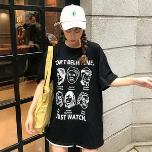 4010#实拍短袖T恤女2019新款韩版潮流女学生可爱动漫印花夏季上衣