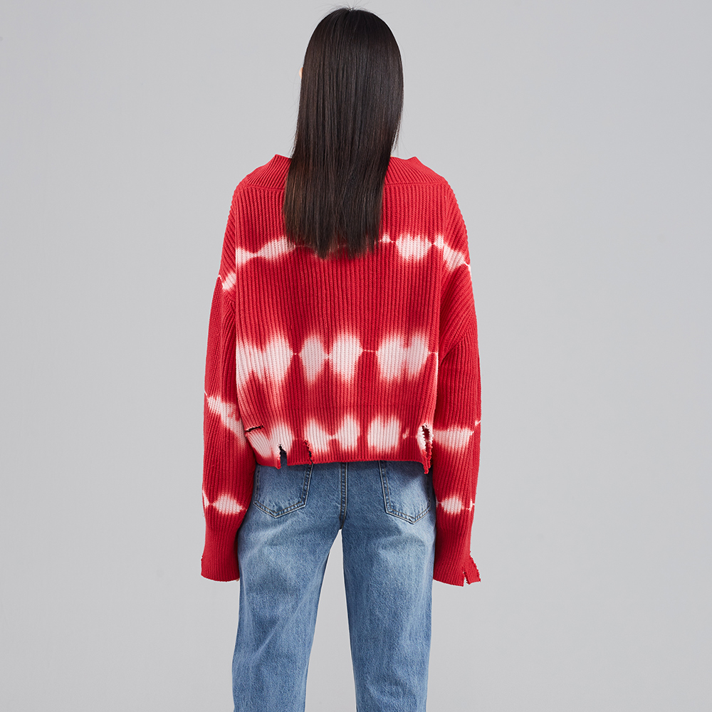 UOOYAA Wu ya new counter genuine tie-dyed texture Burr V-neck vintage knit  sweater
