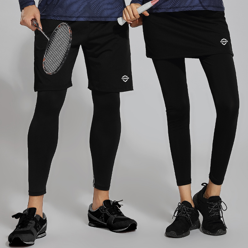 256c3f0ef04b5 Tang shield autumn badminton nine five points true and false two pieces of  running training tight leggings skirt pants 3017 8017