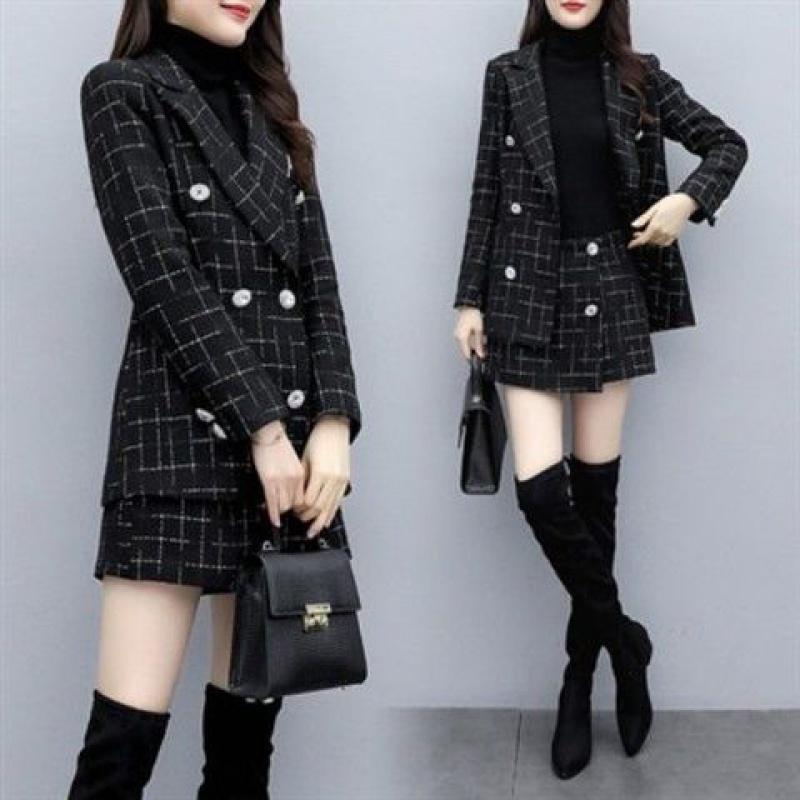 P105短裤新款两气质韩版格子件套小西装外套时尚秋冬小香风套装女