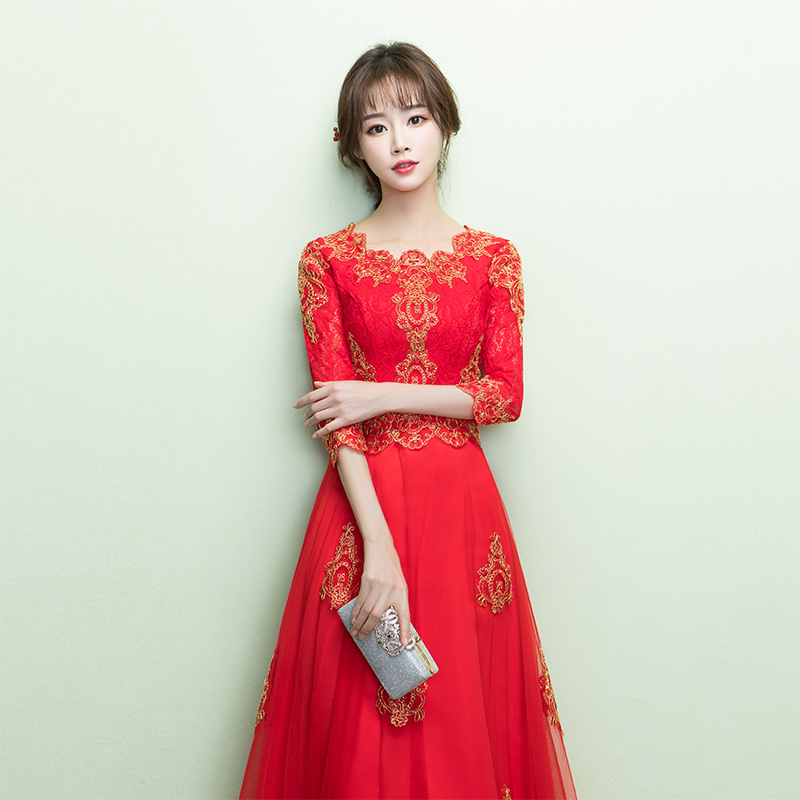toast clothing bride autumn 2018 new red chinese dress long sleeve