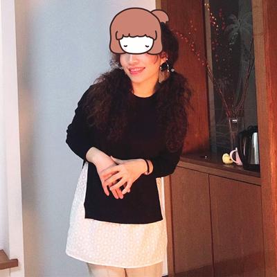弦丽秋冬新品女装韩版假两件拼接碎花针织衫中长版宽鬆毛衣外套女详细照片