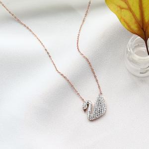 【6色可选】18k玫瑰金黑天鹅锁骨项链