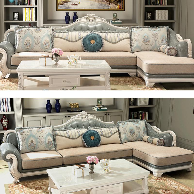 太子家居欧式布艺沙发组合贵妃转角沙发客厅简欧轻奢实木DS2223