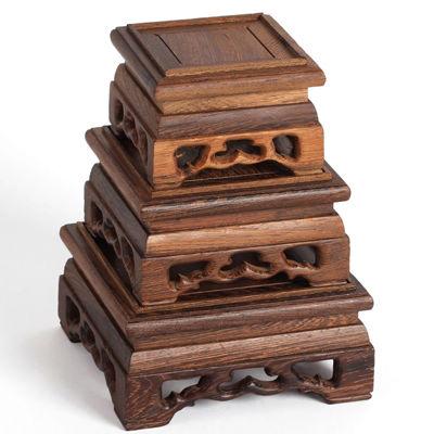 日韓代購~紅木奇石底座挖槽 實木石頭印章 雞翅木紫砂壺套三正方形底座擺件天然實木雕刻