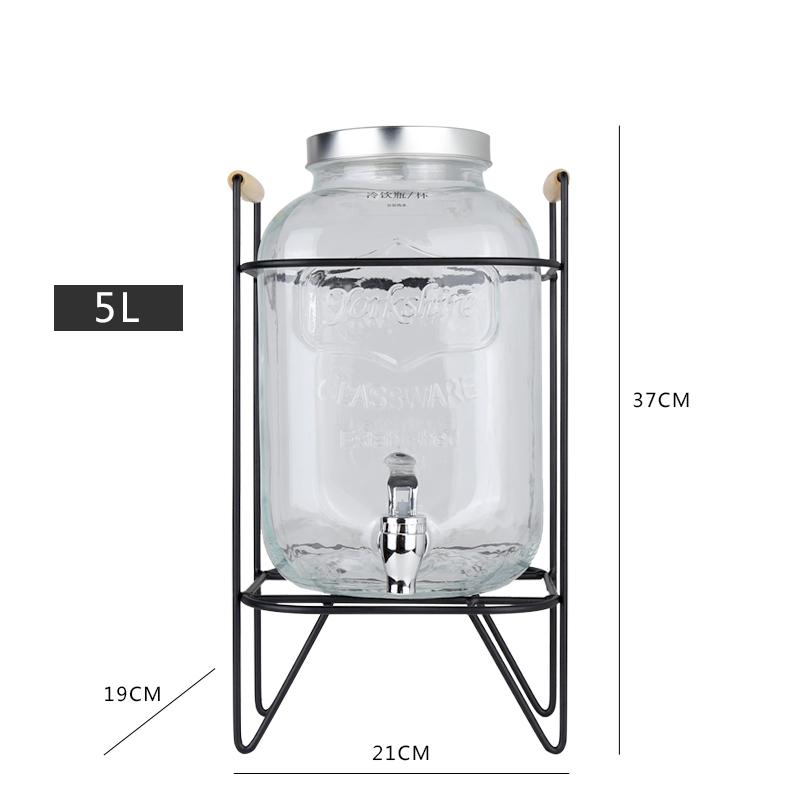Iron frame with faucet glass jar 5L