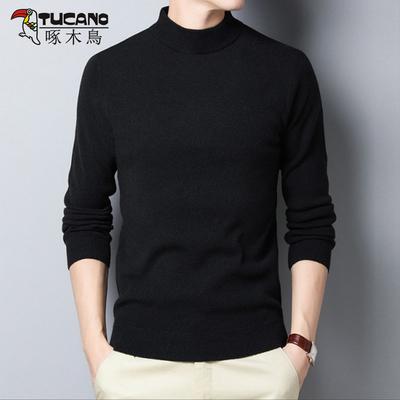 正品秋冬季男装纯羊毛衣羊绒衫打底衫中年爸爸加厚长袖t恤针织衫M
