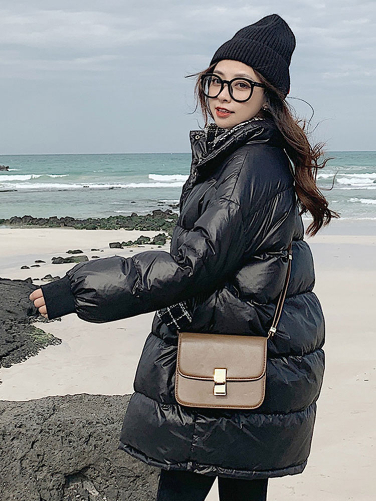 Black down without hat cotton clothing female mid-length version of the new 2019 in the section of the bright surface cotton clothing women's winter installed smooth cotton jacket