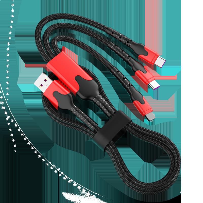 合和核快充数据线三合一充电线器type-c手机66W一拖三6A适用苹果华为安卓tpyec万能车载多功能通用三头二合一