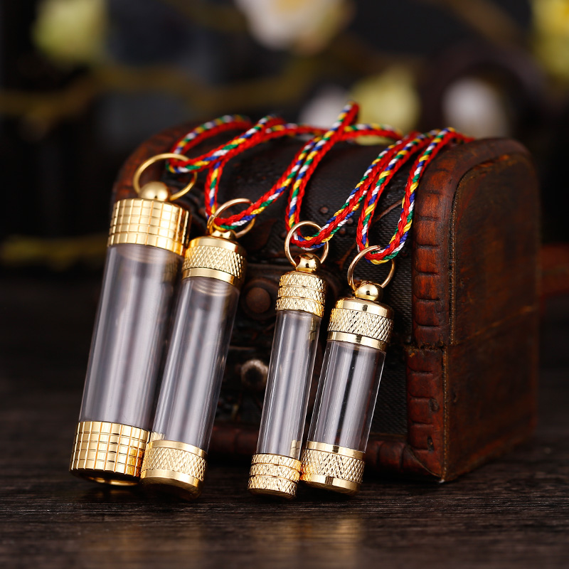 Transparent Ga Wu box tube pendant Nepalese Stupa Aquarius can be loaded  with manna relic Cinnabar pendant