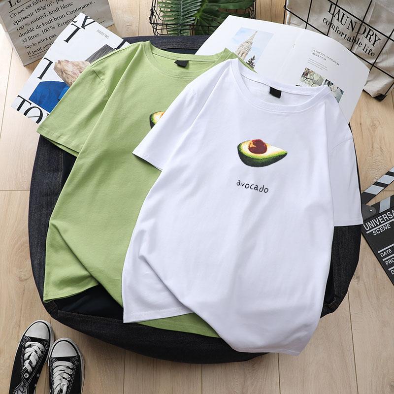 短袖女2019夏季新款ins潮韩版宽松白色半袖t恤体牛油果绿上衣服