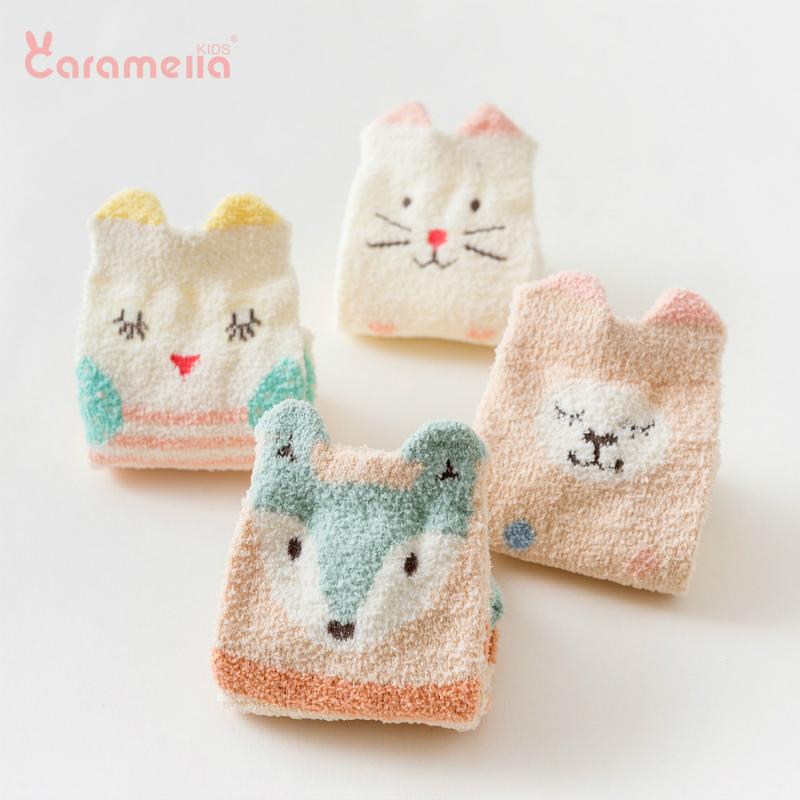caramella儿童袜子婴儿袜秋冬地板袜室内儿童珊瑚绒袜毛巾袜