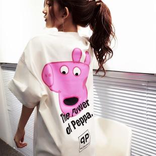 【抖音同款】小猪佩奇中长款短袖T恤