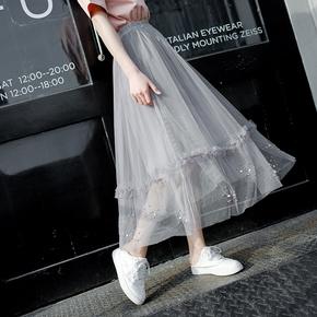 【网红网纱】chic新款中长款网纱裙