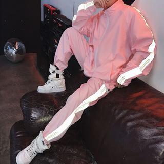 Прилив бренд перевернутый свет куртка розовый пальто школьник личность хип-хоп ins превышать пожар из красивый армированные костюм, цена 2621 руб