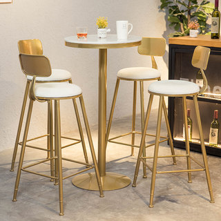 Nordic Marble Bar Table Table High End Round Table Simple Home Bar Table High Foot Gold Table Chair