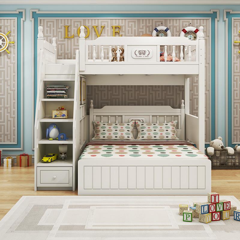 韩式小书桌上下房双层多功能儿童柜组合床交错式高低铺户型白色床