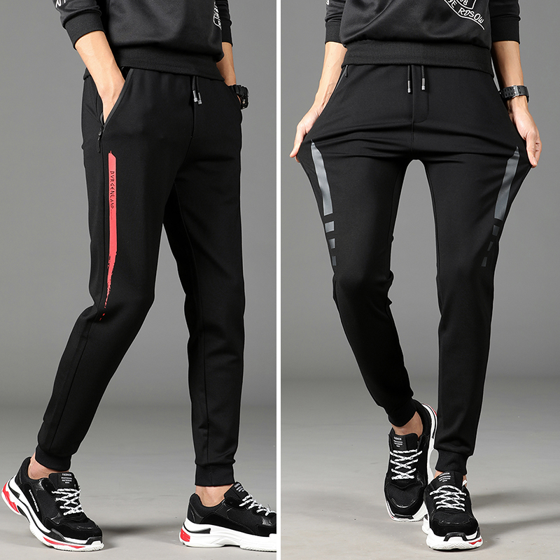 Men's casual sports pants Korean version of the trend of the 2018 new spring slim feet harem pants child male Guard pants nine points