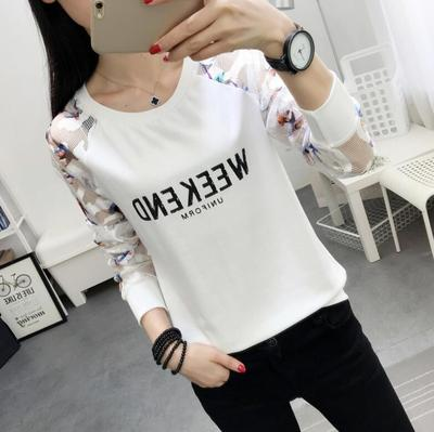 2017 autumn new clothes loose long-sleeved t-shirt lace stitching autumn women's shirt autumn coat to wear
