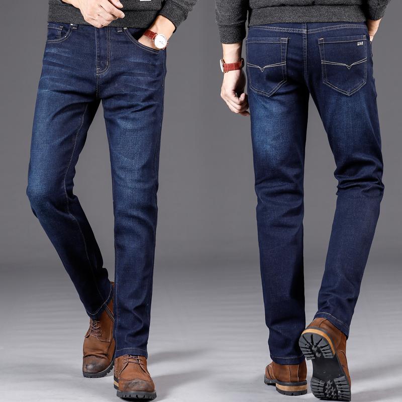 秋季深蓝色男士牛仔裤子小脚裤男韩版修身时尚潮流青年商务小直筒