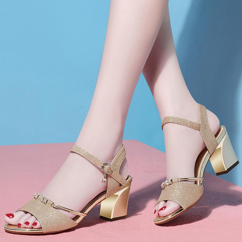 女鞋凉鞋2018新款女罗马学生夏中跟粗跟水钻小清新高跟鞋百搭韩版_天猫超市优惠券